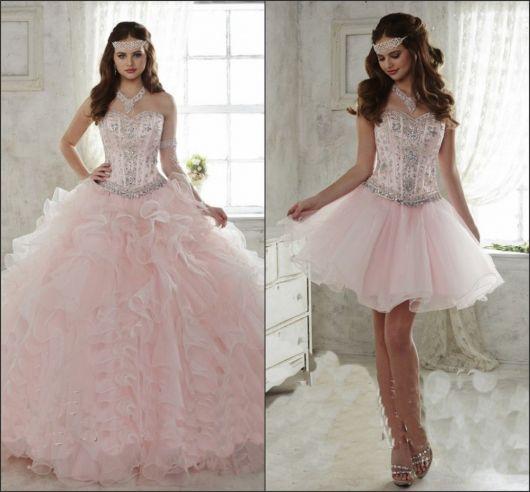 2f9829d96 Vestido de 15 anos Rosa: Conheça 50 modelos para você ficar linda!