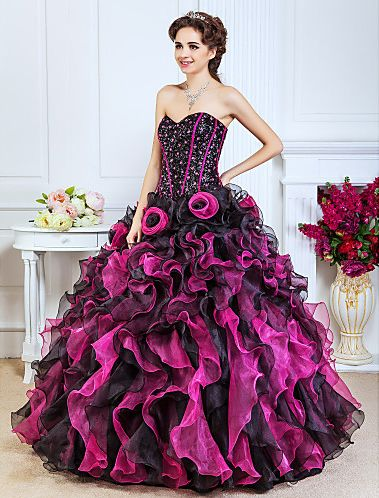 vestido-de-15-anos-rosa-tomara-que-caia-preto