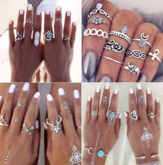 anéis de falange da Hippie Artesanatos