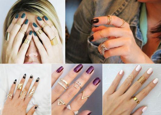 modelos de anéis de falange dourados