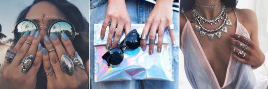 modelos de anéis de falange prateados