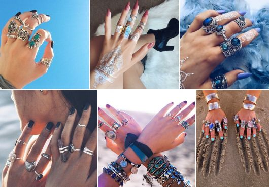 modelos de anéis de falange hipster/gypsy