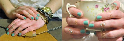 anéis de falange vintage dourados