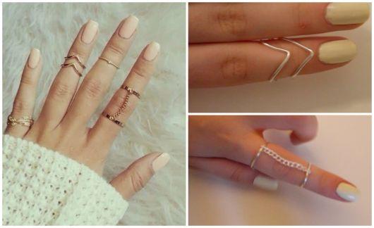 anéis de falange de corrente e triângulo