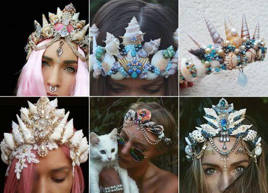 modelos de coroa de sereia com pedrarias