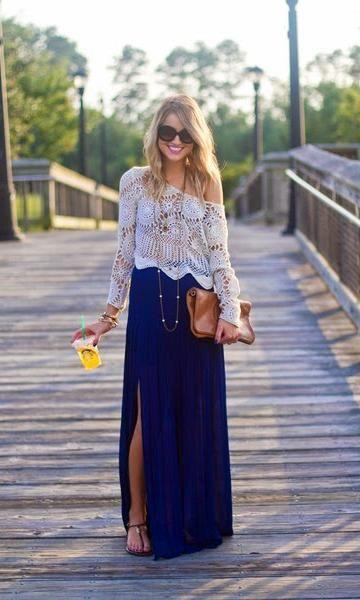 look saia longa azul