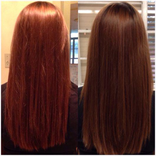 antes e depois cabelo liso