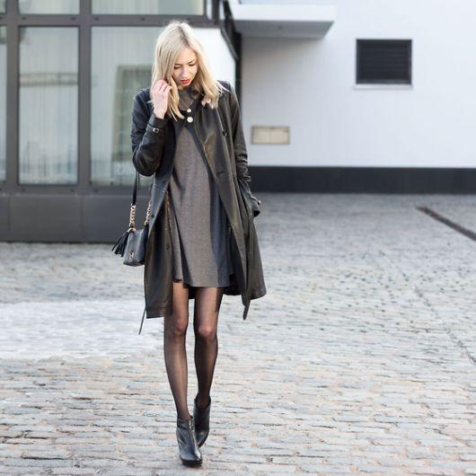 exemplo de modelo de sobretudo feminino de couro
