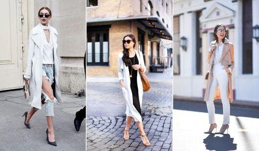 exemplo de dicas de look de sobretudo feminino com branco