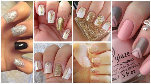 glitter prata e dourado