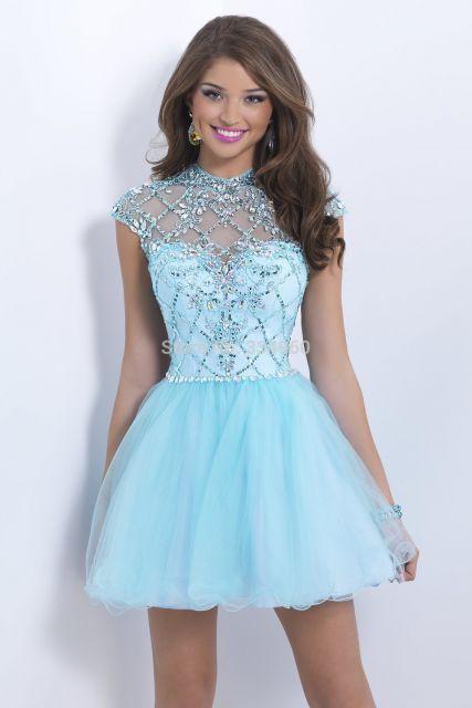 vestido curto azul claro