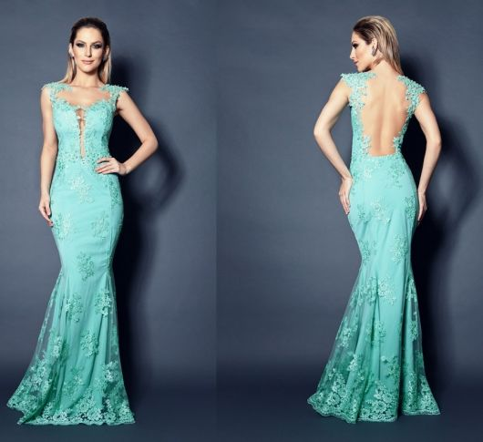 Vestido azul turquesa sereia