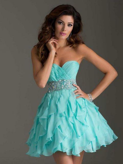 Vestido de festa curto azul turqueza