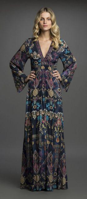 vestido longo com decote V