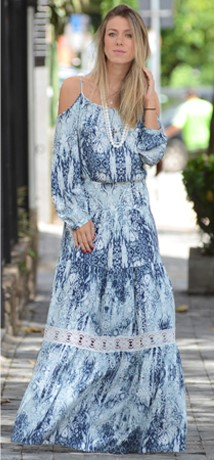 vestido azul com manga longa
