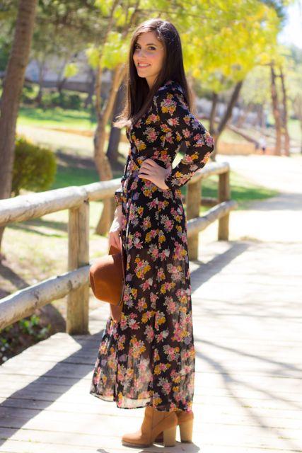 vestido longo com bota