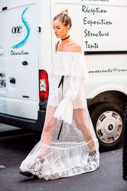vestido longo com transparência
