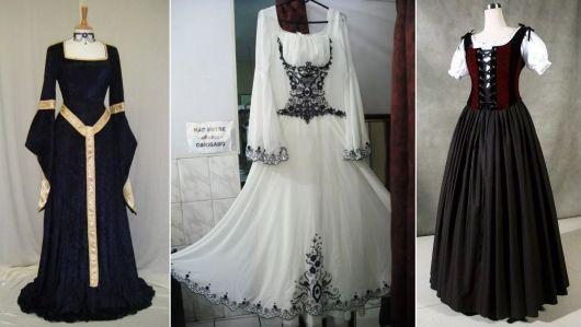 exemplos de vestido de época da loja Mercado Livre