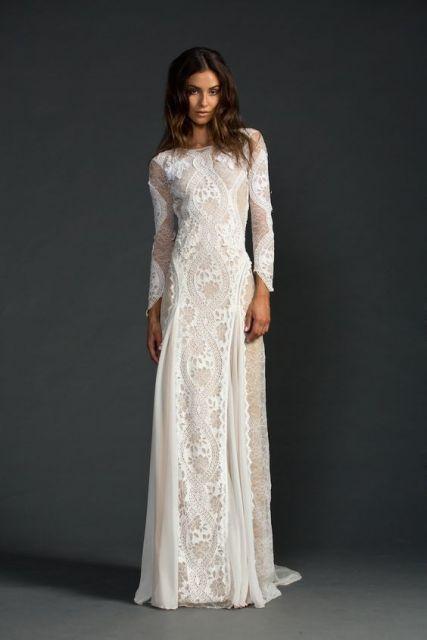 vestido de renda com manga longa