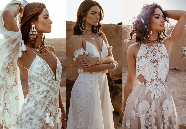 Vestidos de noiva Boho, de Rue de Seine. O Bossa Nova Ateliê pode confeccionar um vestido inspirado em qualquer um destes modelos especialmente para você! Entre em contato para saber como.