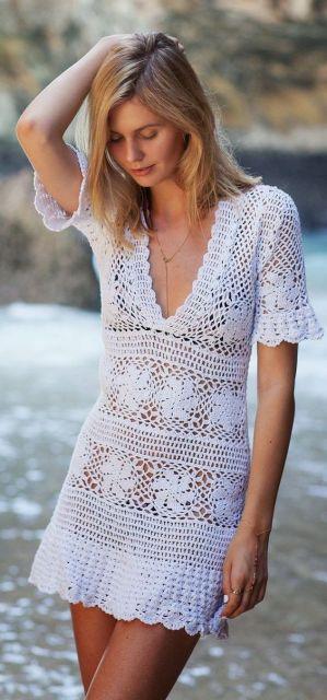 vestido branco crochê