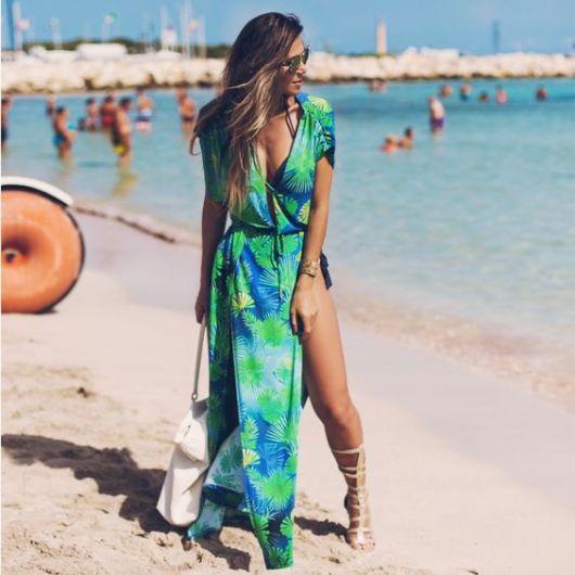 Vestido longo estampado Praias