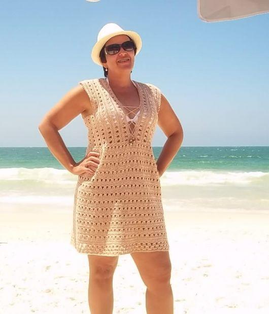 vestido crochê plus size