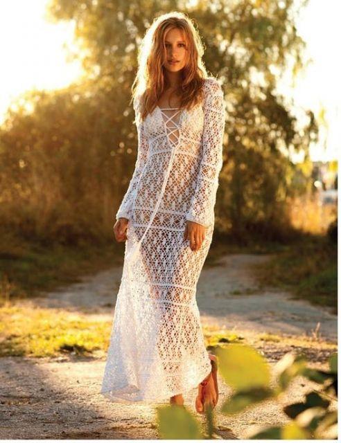vestido longo crochê