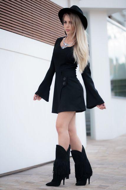 vestido-manga-flare-com-bota-looks-para-usar