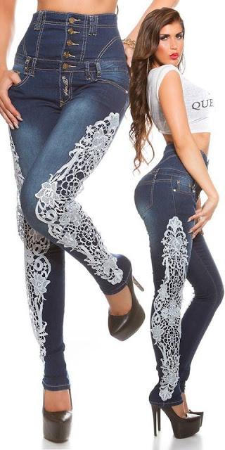 calça jeans com renda azul
