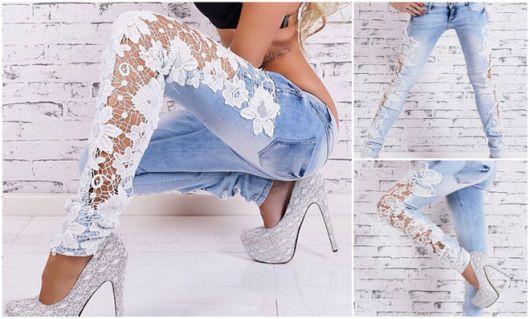 estilo de Calça jeans com renda