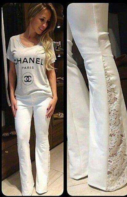 calça jeans com renda na lateral