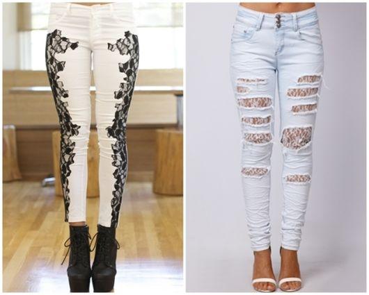 calça jeans com renda passo a passo