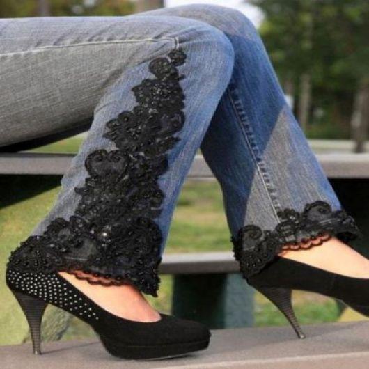 calça jeans com renda como fazer