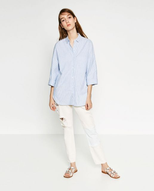 camisa oversized feminina com jeans branca