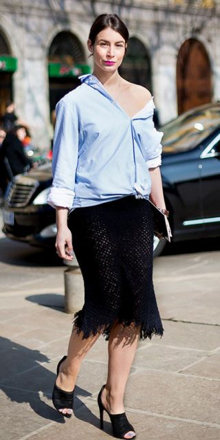 camisa oversized feminina com saia de croche