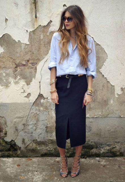 camisa oversized feminina com saia longa