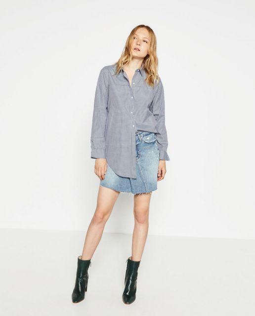 camisa oversized feminina com saia jeans