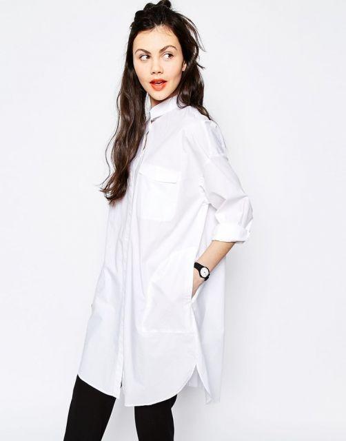 vestir camisa oversized feminina com legging