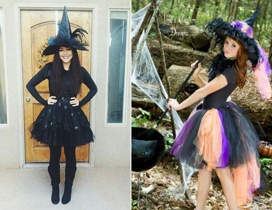 fantasia de bruxa com saia de tule
