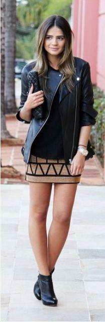 look saia com jaqueta de couro