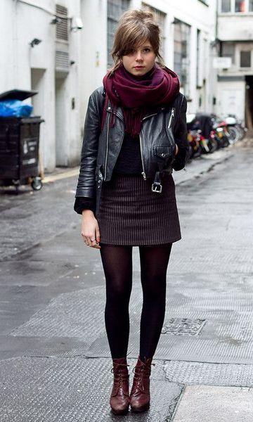 look saia e meia calça
