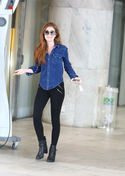 look legging com camisa jeans