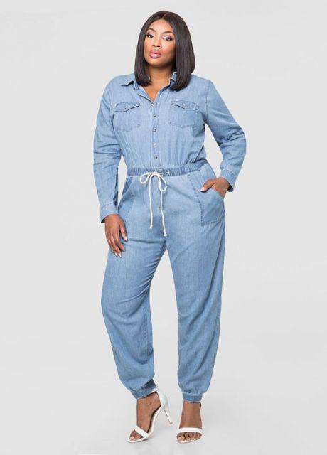 Vestido jeans plus size manga longa