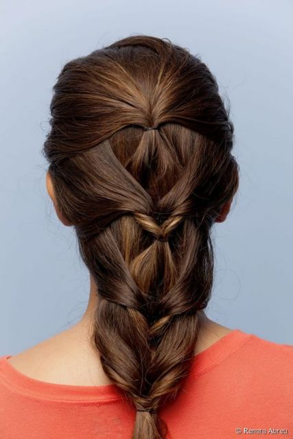 cabelo preso falsa trança