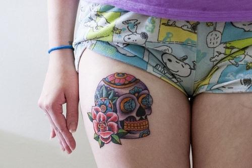 tatuagem de caveira mexicana feminina
