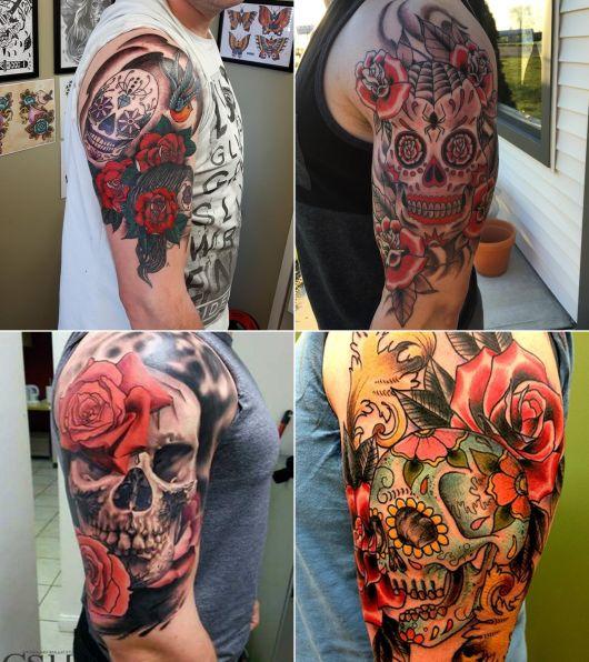 tatuagem de caveira mexicana masculina