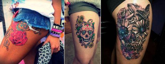 tatuagem de caveira mexicana na coxa/perna