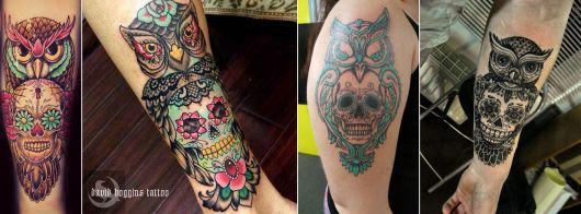 tatuagem de caveira mexicana com animais
