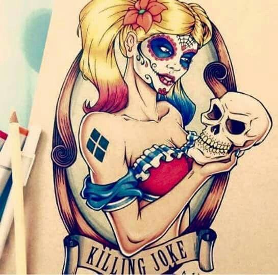 tatuagem de caveira mexicana com personagens